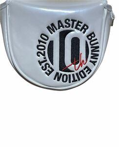 送料無料マスターバニーbyパーリーゲイツゴルフ限定MBE10thサークルロゴマレットパターカバー合成皮革×エナメル質フック付(ホワイト)新品