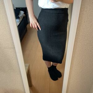 リブニット スカート ロング リブ ロングスカート ニットスカート ウエストゴム ニットタイトスカート
