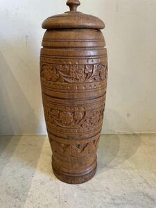 木彫り 容器 ストッカー 海外 木彫り 置物 蓋付き 民藝 民芸品 工芸 クラフト ask030