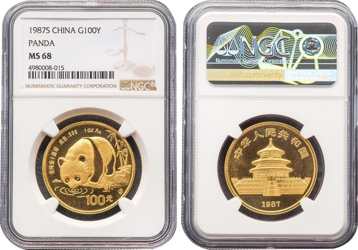 中国 100元金貨 1987年S 完全未使用品 パンダ NGC(MS68)