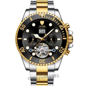 ★ メンズ高級腕時計 機械式自動巻 トゥールビヨン カレンダー 曜日表示 夜光 防水 紳士ウォッチ 仕事 6色選択 G/B◇