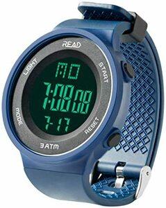 ブルー デジタル腕時計 メンズ スポーツウォッチ 日付表示 アラーム 大文字盤 LED バックライト ストップウオッ