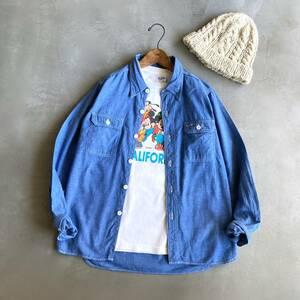*BEAMS BOY ビームスボーイ*シャンブレー生地 長袖シャツ ワークシャツ ネイビー 綿100% 日本製