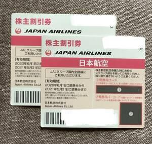 JAL 日本航空 株主優待券 有効期限 2021年11月30日迄 延長 2枚 メール通知可能