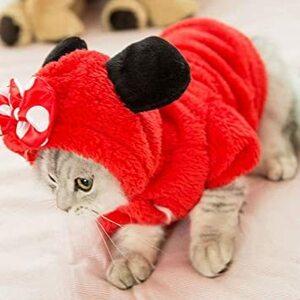 レッド XL COLOGO【在庫一掃セール】猫服 ペット服 ドッグウェア 犬用 厚い 秋冬 可愛い 変身服 部屋着 お散歩お出か