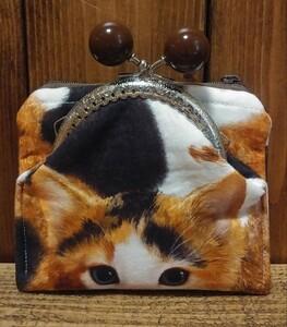 がま口 財布〈三毛猫あめ玉チョコ〉がま口付きファスナーポーチ ハンドメイド