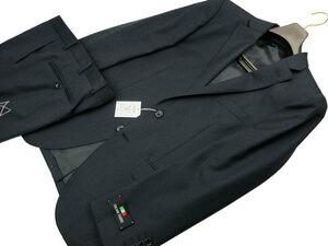 新品 CARLO BARBERA AB5 身長170㎝ 胴囲86㎝ 秋冬 イタリア製生地 2ボタン ストライプ バルベラ スリムスーツ ノータック 紺ネイビー d388