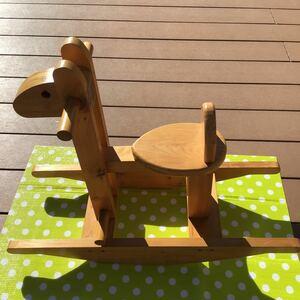 used 木製 子供用 おもちゃ 「 木馬 ロッキングホース 」/ 乗用玩具 / 室内で使用 屋外では使用していません / 手作りの可能性大