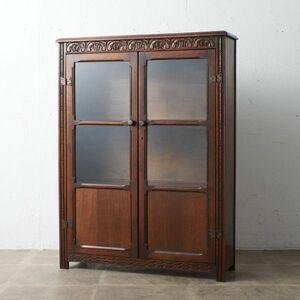 IZ51441C○英国 クラシック ブックケース 無垢材 オーク 飾り棚 本棚 書棚 ガラス ディスプレイ ショーケース ディスプレイ イギリス 鍵付