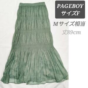 スカート プリーツ ロングスカート PAGEBOY M ロングスカート グリーン マーメイド