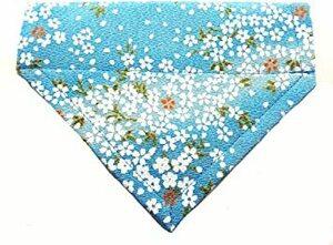 ブルー M 【 首輪処 】犬用スカーフ バンダナ 舞姫 伝統的な美しい桜柄にゴールドのラメ入り 日本製のちりめん生地使用 お散歩