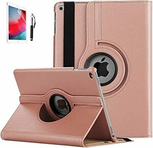 ローズゴールド iPad Air/Air 2ケース FamGift 超軽量&超薄型レザー 360度回転式 ド オートスリープ機能