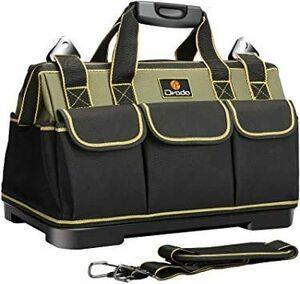 【期間限定】グリーン Drado ツールバッグ 工具バッグ 工具袋 道具袋 ベルト付 工具差し入れ 大口収納 1680DオッE5XD