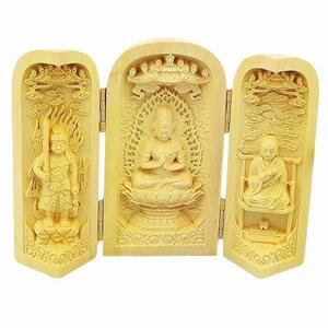 DPZ 真言宗三尊 ( 不動明王 ・ 大日如来 ・ 弘法大師 ) 三開仏 三開仏像 ミニ型 木彫仏像