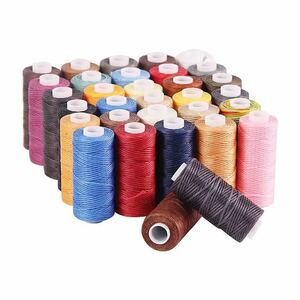 蝋引き糸 ワックスコード 36色セット ロウ引き糸 レザークラフト 50m ロウ 手芸 DIY 手縫い 国内送料
