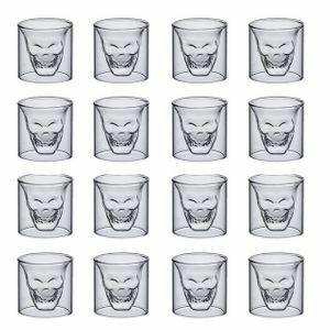 スカル好きな方 16個セット ショットグラス バー クラブ 飲食 パーティー テキーラ ウィスキー アルコール ギフト