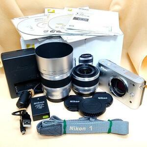 【pvb053】☆★未使用 新品★☆【美品】ミラーレス Nikon 1 J1 ダブルズームキット シルバー