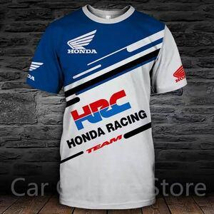 最新 HRC 青 ホンダレーシング Tシャツ