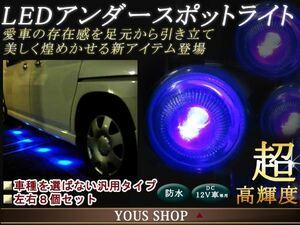 LEDスポットライト 汎用 車 アンダーライト ブルー 8個セット