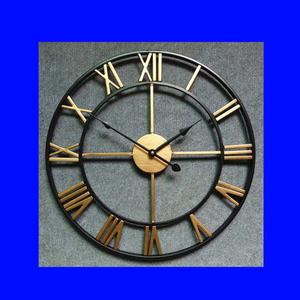 壁掛け時計 アンティークウォールクロック 北欧風 シンプル 黒&銅色