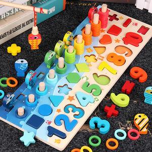 釣り遊び 数字 積み木 子供 玩具 色認知 木製パズル 知育 モンテッソーリ