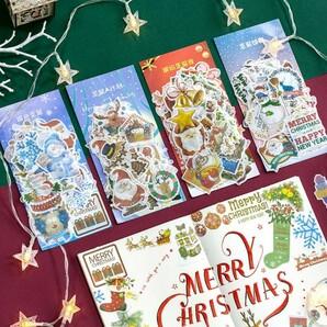 クリスマス ステッカー 4種 240枚 シール サンタ 雪だるま 海外1