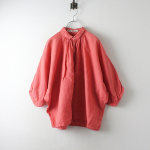 Brocante ブロカント リネンキャンバスグランシャツ 2/ピンク ギャザーブラウス ドルマンスリーブ【2400012520189】