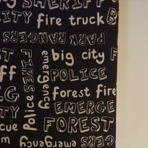 YUWA シャルマンコレクション オックス生地 英単語柄 ブラック 生地巾約108cm×約50cm