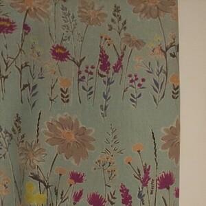 コットンリネンキャンバス生地 花柄 ブルー系 生地巾約110cm×50cm