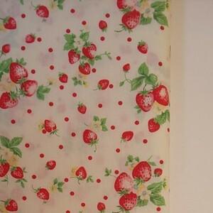 YUWA 松山敦子さん 30's Collection 綿100% いちご柄 ホワイト 生地巾約55cm×約50cm