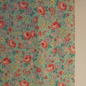 YUWA 松山敦子さん 30's Collection 綿100% 花柄 グリーン系 生地巾約55cm×約50cm