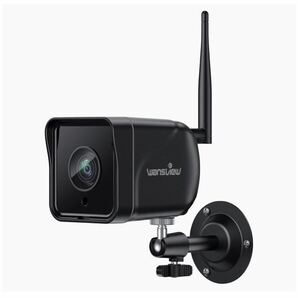 防犯カメラ1080P 200万画素WIFI ワイヤレス ネットワークカメラIPカメラ動体検知 警報 暗視撮影 双方向音声遠隔操作micro SDカード対応(黒)