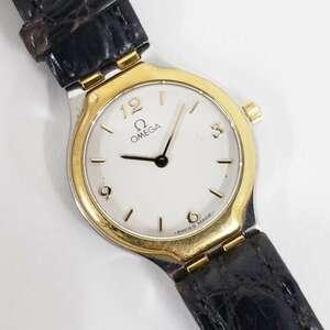 【1円スタート】アンティーク OMEGA オメガ SS×革ベルト 手巻き レディース ゴールドカラー 62294 腕時計