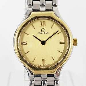 【1円スタート】アンティーク OMEGA オメガ SS クォーツ レディース ゴールドカラー 62008 腕時計