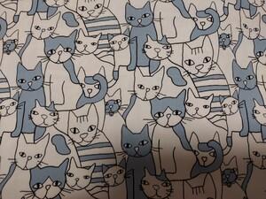猫がいっぱい柄 オックス生地 ブルーグレー色 110×50cm