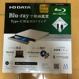 I-O-DATA ポータブルブルーレイドライブ BRP-UT6CW (パールホワイト/USB Type-C対応)