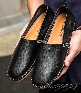 ★新品 足長27cm メンズレザーエンドウ豆の靴 怠惰な靴オフィス カジュアル 滑り止め 柔らかい24~~28.5 4色【色とサイズが選べる】
