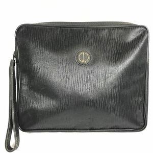 【ダンヒル】本物 dunhill セカンドバッグ dロゴ金具 クラッチバッグ 黒 レザー×布系 男性用 メンズ フランス製