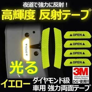送料0円 3M DG3 反射テープ 9cm×4 14cm×2 オレンジ 計6枚 車 ドア付近に 高反射力 リフレクションサイン ステッカー 後方の安全対策に