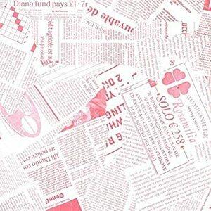 ピンク 【フジパック】 英字新聞紙柄 包装紙 ラッピングペーパー 100枚 おしゃれでかわいいデザイン お花/プレゼント/ギフト