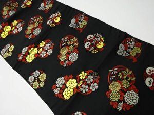 5464665: アンティーク 花丸模様織り出し名古屋帯(着用可)