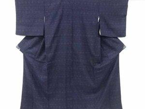 781239# 【1円~】幾何学模様織出し本場結城紬80亀甲着物(石下)