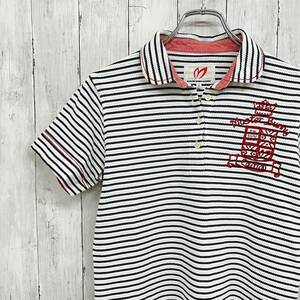マスターバニーエディション by パーリーゲイツ レディース 半袖 ボーダー ポロシャツ 白地 ネイビーボーダー 赤刺繍 美品