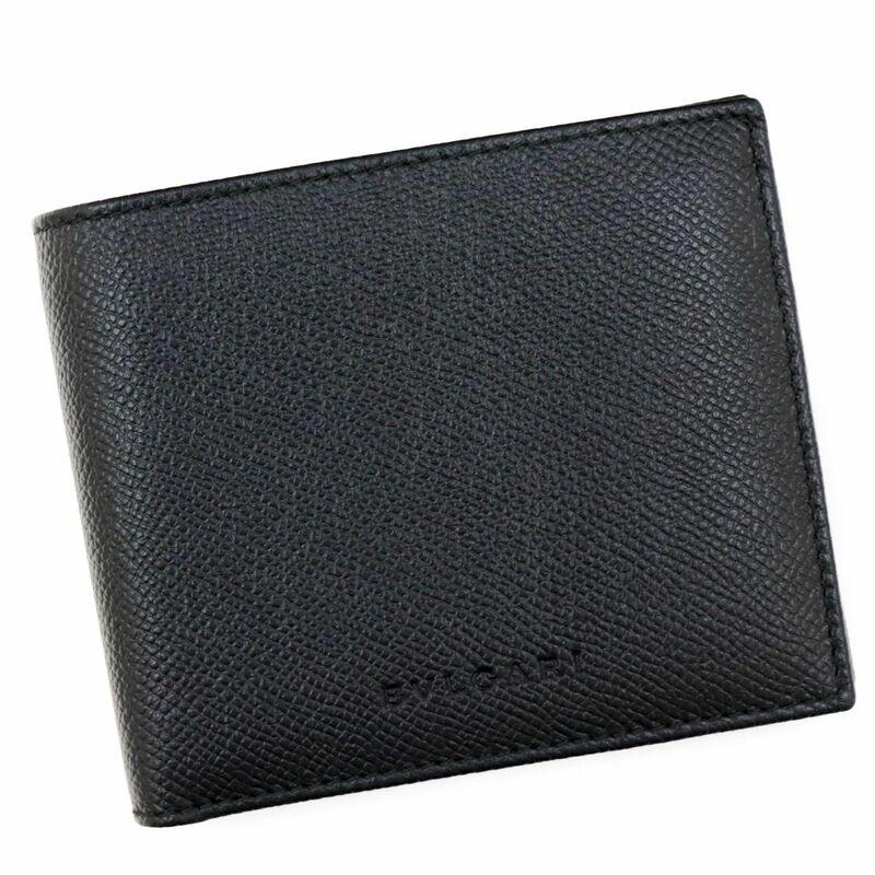 未使用 ブルガリ レザー二つ折り財布 コンパクト メンズ 黒 グレインレザー 22309 BVLGARI【Z5-18426】