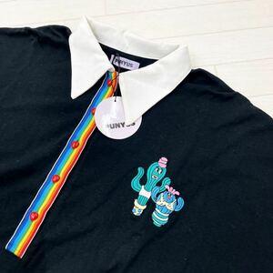 148◆ 【日本製】タグ付き PUNYUS プニュズ ポロシャツ 刺繍 ワンポイント ビッグサイズ ブラック 半袖 レディース サイズ4