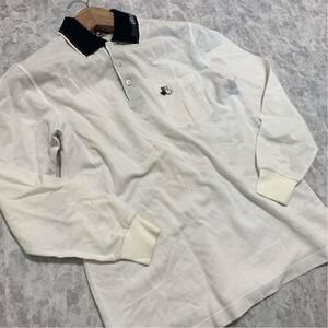 C @ 日本製 '高級ゴルフウェア' Black&White SPORT ブラック&ホワイト 長袖 ポロシャツ 胸ポケット 白 WHT サイズ:M メンズ トップス