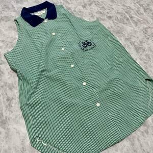 M @ 高級!! ラグジュアリー服 Christian Dior SPORTS ディオールスポーツ 袖なし ストライプ柄 シャツ ブラウス SIZE:M トップス 婦人服