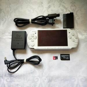 【美品】PSP 3000 すぐ遊べるセット(ホワイト) 32GB(メモリースティックアダプター&MicroSDカード)