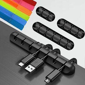 新品 未使用 コ-ド ケ-ブルクリップ S-K8 5 7穴)黒+6本の結束バンド まとめる EARLDOM マジック テ-プ テ-ブル整理 ケ-ブル収納用