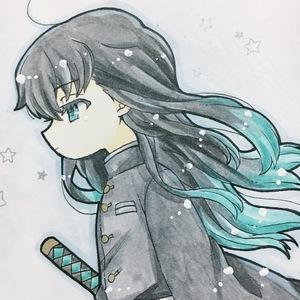 Hand drawn coterie illustration Senko Ichiro Iki's blade post card